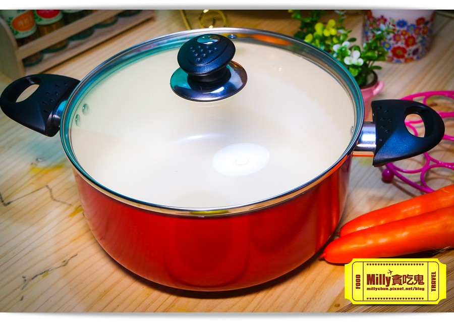 固鋼晶紅白陶瓷不沾鍋具0013