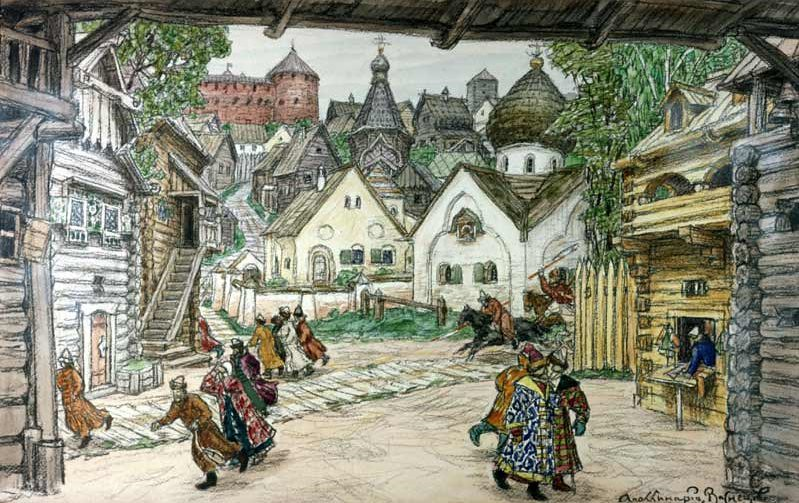 The street in the town, by Apollinary Vasnetsov
