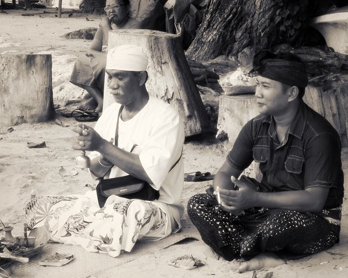 Ceremony on the beach .
