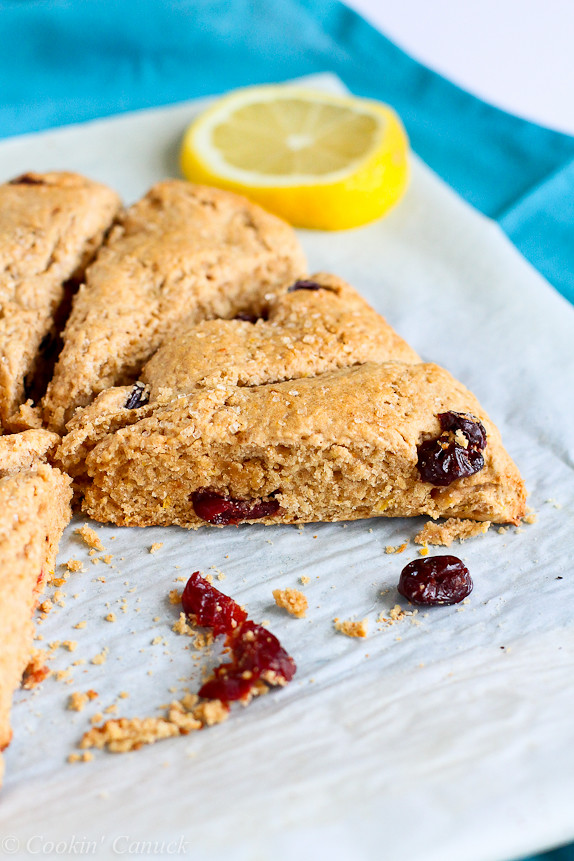 Lemon and Cherry Whole Wheat Scones Recipe...125 calories and 3 Weight Watchers PP   cookincanuck.com #brunch