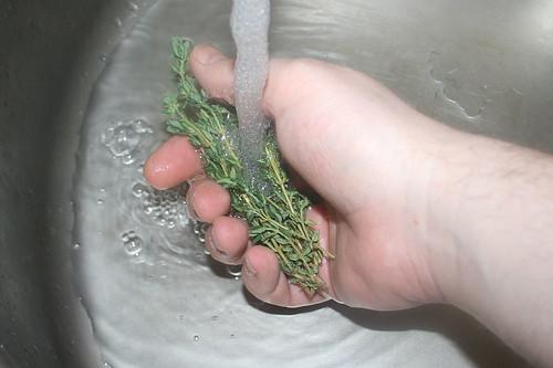 09 - Thymian waschen / Wash thyme