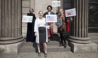 Caroline Criado-Perez and campaigners at the Bank of England