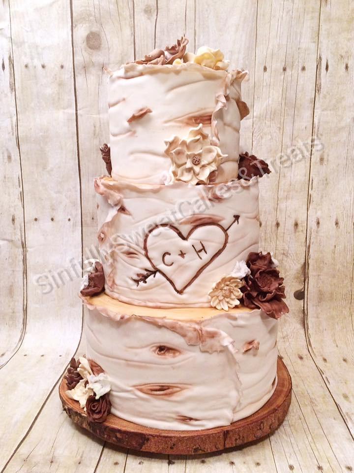 Birch Wedding Cake by SarahandAdam Green of SInfully Sweet Cakes & Treats