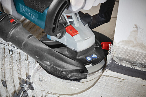 The Bosch Surface Grinder includes a case, a diamond cup wheel and an extra brush ring