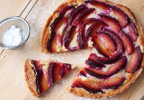 Red plum and almond frangipane tart