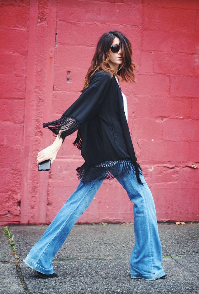 11, fringe, fringe jacket, flares, flare jeans