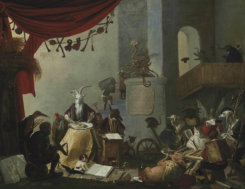 Cornelis Saftleven - An interior with a goat eating an oyster, a donkey at a school desk, a cat playing tric-trac and other mythical creatures, 1660's