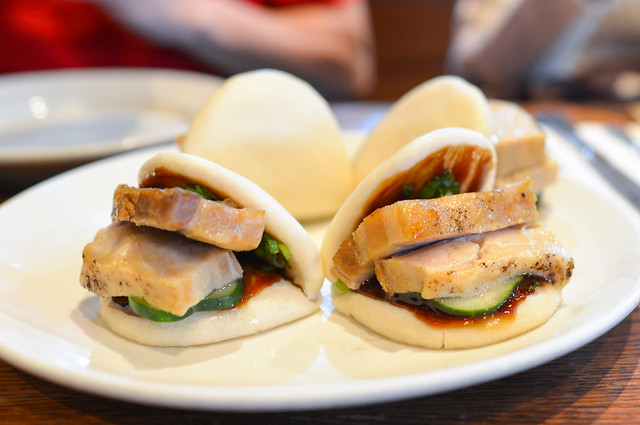 steamed buns pork belly, hoisin, cucumbers, scallions