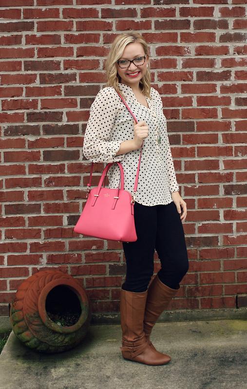 polka dot blouse + boots