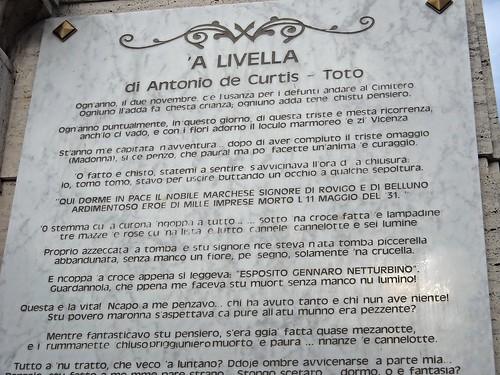 "Marble plaque with "" 'A Livella"" by Antonio De Curtis / Totò - Sepulchral Chapel of Totò (Antonio de Curtis, Naples 1898-Rome1967) - Cemetery of Santa Maria della Pietà in Naples"