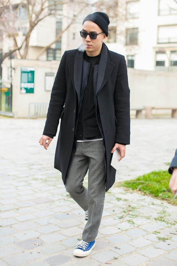 チェスターコート×ショールカラーコートの重ね着にウールパンツ