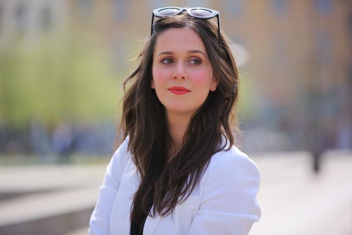 professional style in white blazer