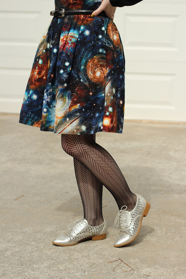 Galaxy Print with Herringbone Fishnet Tights and Silver Shoes