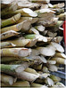 Sugarcane stacked up in a sugarcane juice shop