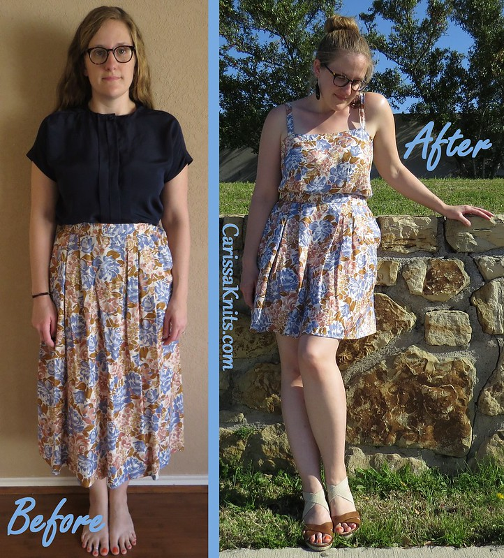 Blue & Tan Floral Dress - Before & After