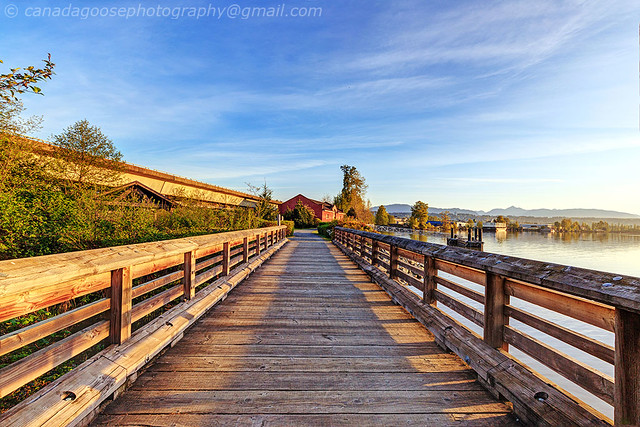 Wooden bridge at sunrise