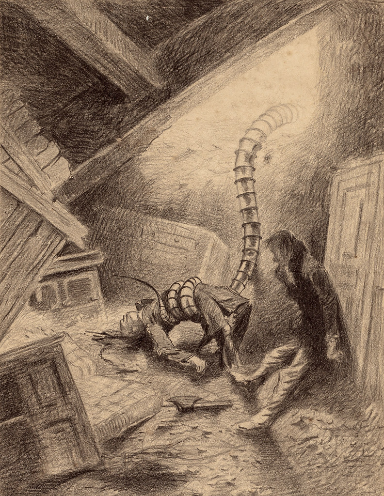 "HENRIQUE ALVIM CORRÊA -Handler Grabbing Human, from The War of the Worlds, Belgium edition, 1906 (illustration from Book II- The Earth Under the Martians, Chapter V- ""The Stillness,"")"