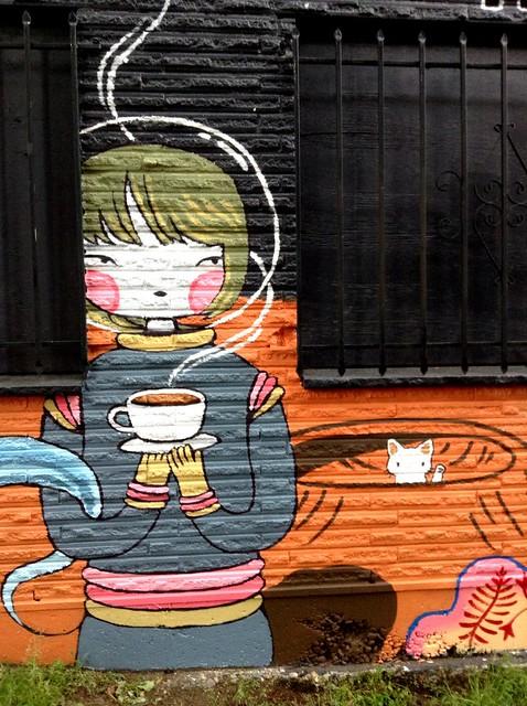 Space cat mural