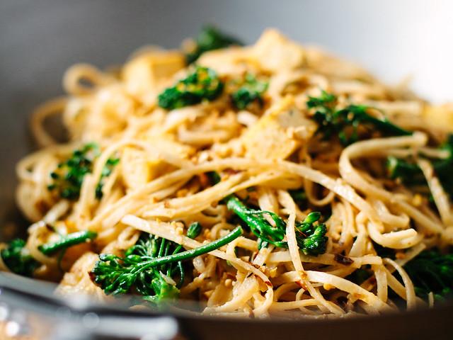 Thai peanut stir fry with tofu + broccolini