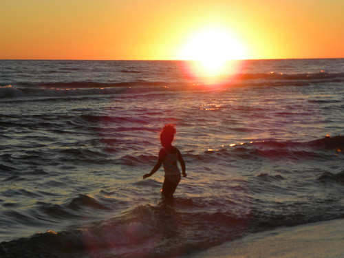 ocean sunset girl