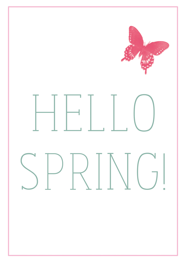 Hello Spring2 - free printable illustration-poster-card - design by alex b