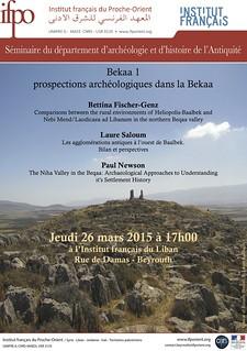 Séminaire : Prospections archéologiques dans la Bekaa (Beyrouth, 26 mars 2015)