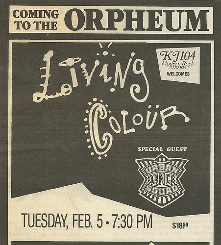 02/05/90 Living Colour/ Urban Dance Squad @ The Orpheum Theater, Minneapolis, MN