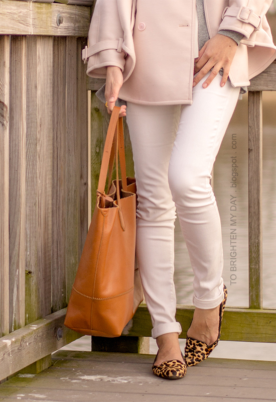 pink trench cape, gray sweater, white jeans, leopard print flats