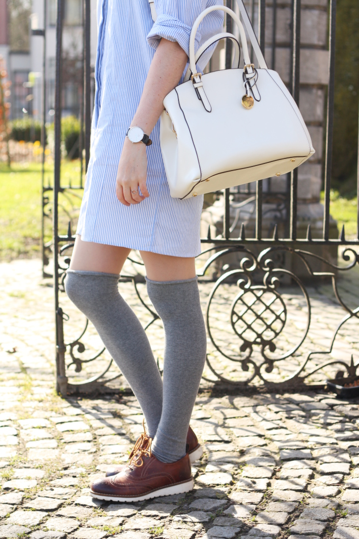 Spencer Hastings inspired preppy outfit: pinstripe shirt dress, over the knee socks, brogues