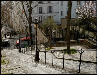 escaliers , rue Chappe / Montmartre , Paris , France