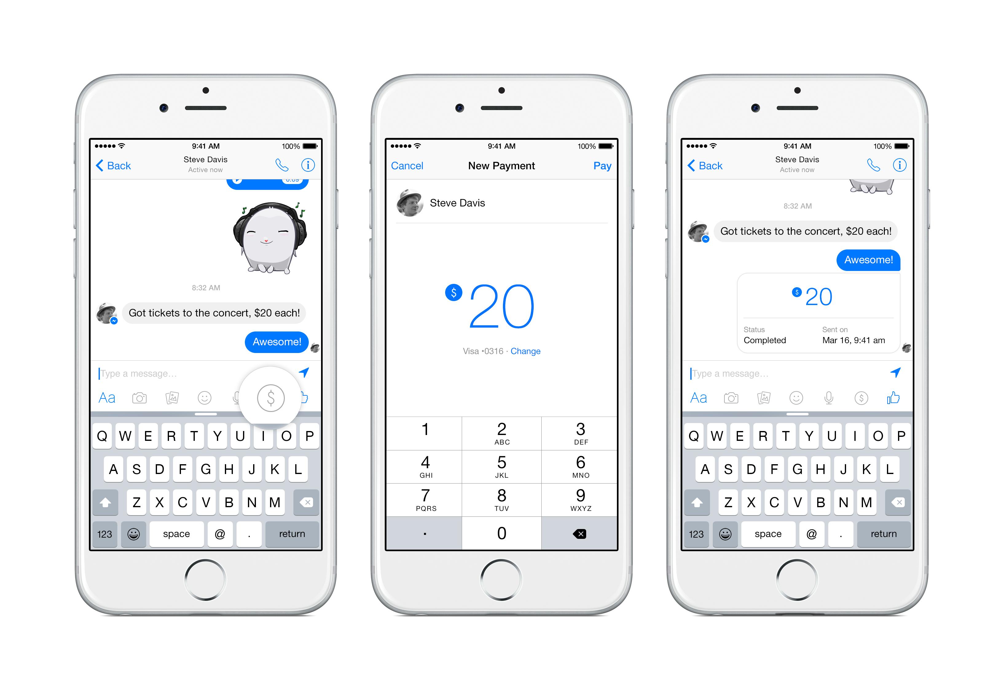 trimite bani prietenilor cu Facebook Messenger