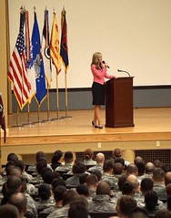 Rep. Melanie Stambaugh speaks to the men and women of the 7th Infantry Division at Joint Base Lewis-McChord this past weekend in honor of Women's History month