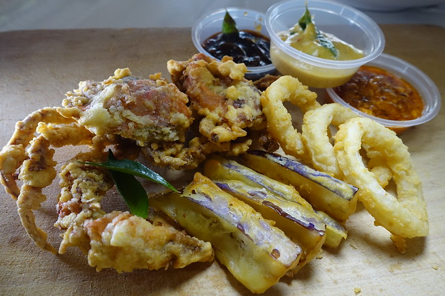 Soft Shell Crab with Three Dips - Chili Crab, Salted Egg Yolk, Black Pepper