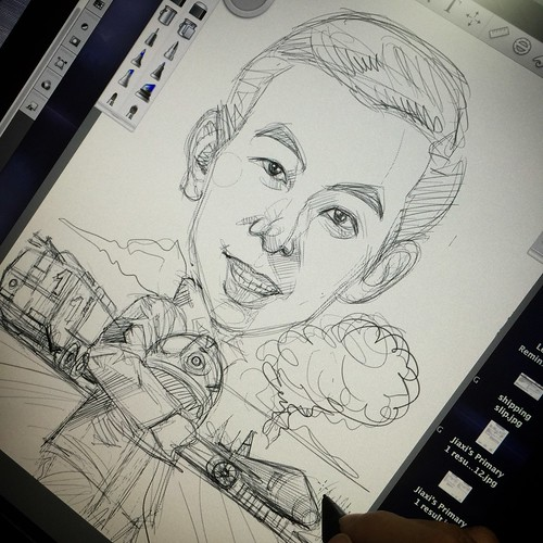 digital fireman caricature Changi Airport Group (Singapore) Pte Ltd sketch