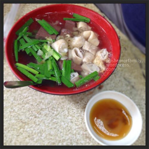 pig blood soup + pig intestine