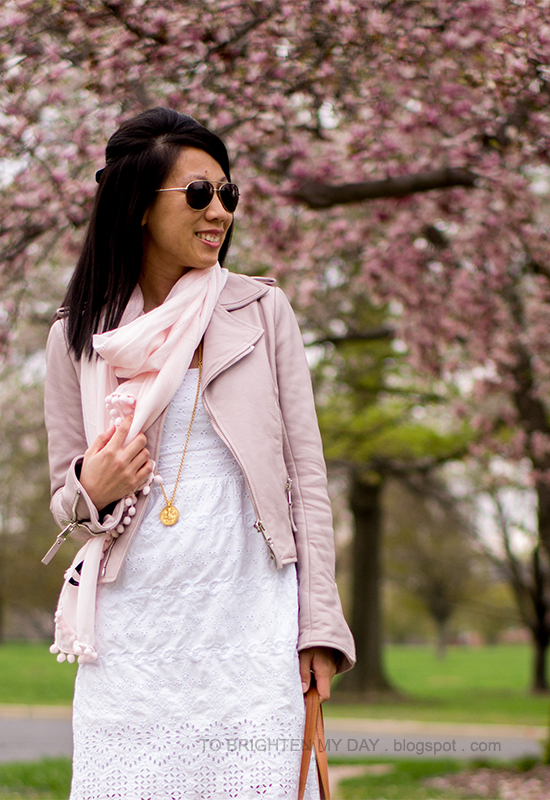lilac leather jacket, pink scarf, white eyelet dress