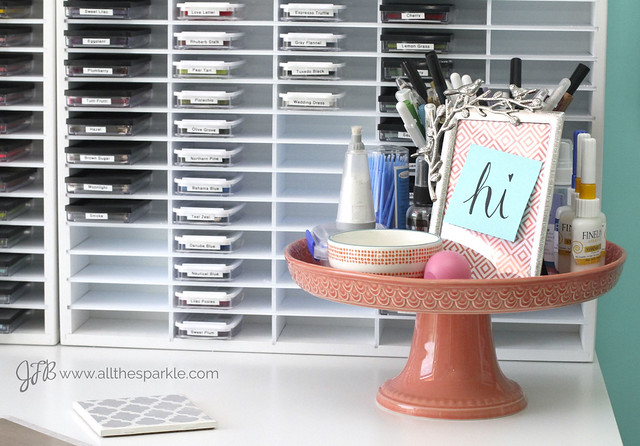 www.allthesparkle.com craft room tour teal and coral