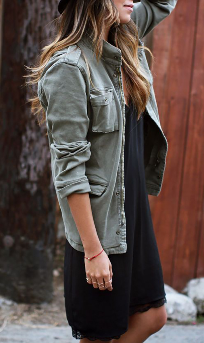 Military style green olive street style inspiration07