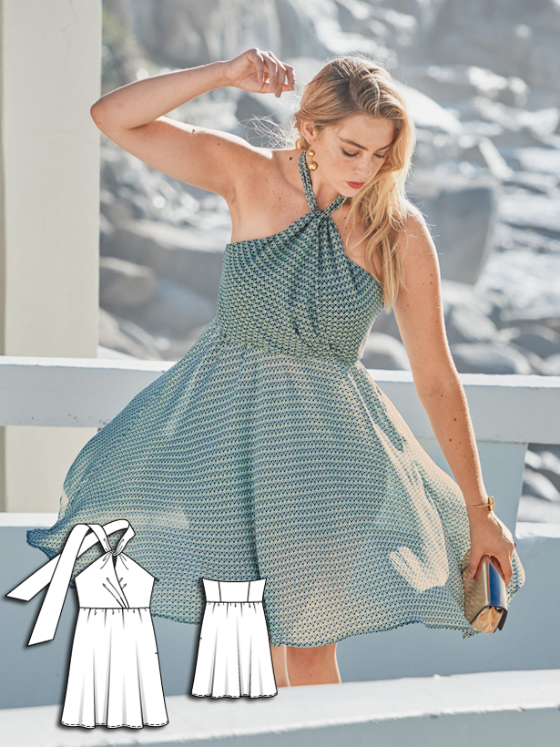 plus size halter dress sewing pattern 131-062016-B