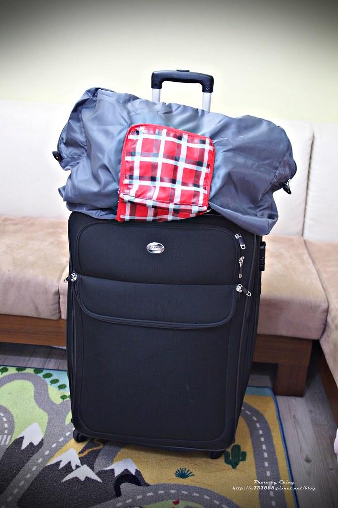 12格紋可摺式旅行袋 紅