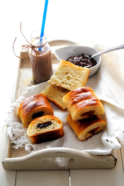 Jam or chocolate filled sourdough rolls