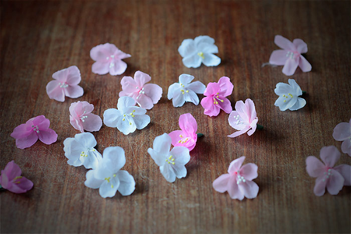 Crafting paper cherry blossoms