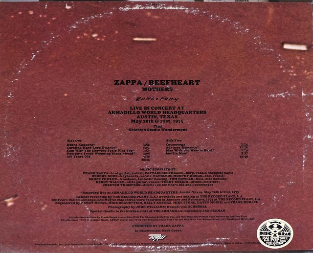 "FRANK ZAPPA CAPTAIN BEEFHEART THE MOTHERS BONGO FURY 12"" LP VINYL"