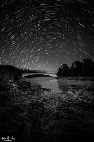 bridge light night forest woodland river painting way stars landscape photography star scotland highlands nikon long exposure space trails scottish astro trail le astrophotography iain milky moray constellation brooks spey polaris strathspey grantownonspey starscape d610 badenoch grantown d7000 starstax