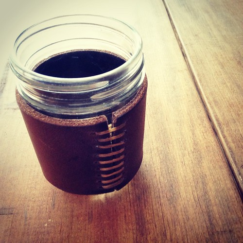Lunchtime project - leather mason jar sleeve.