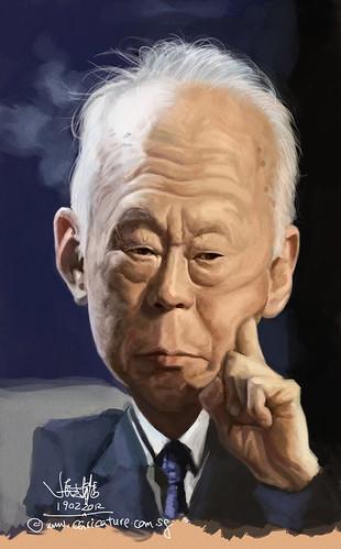 digital caricature of Lee Kuan Yew - 3