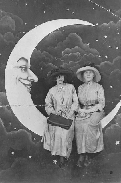 Ladies sitting on the moon, Luna Park, St Kilda, c1912
