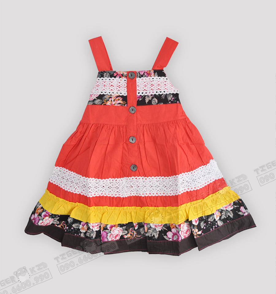 Quần áo trẻ em, bodysuit, Carter, đầm bé gái cao cấp, quần áo trẻ em nhập khẩu, M2083 Đầm bé gái Cotton mùa hè 1T-8T