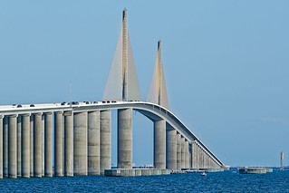 Just before dusk fom North Skyway Pier and about to go under Sunshine Skyway Bridge
