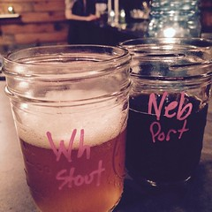 @kreuzbergcalifornia @bangthedrumbrewery my 2 #faves #whitecoffeestout and #nebula #bourbonbarrelagedporter #yum